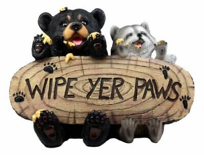 Wipe Your Paws Home Welcome Sign Honey Black Bear and Raccoon Sculpture Figurine