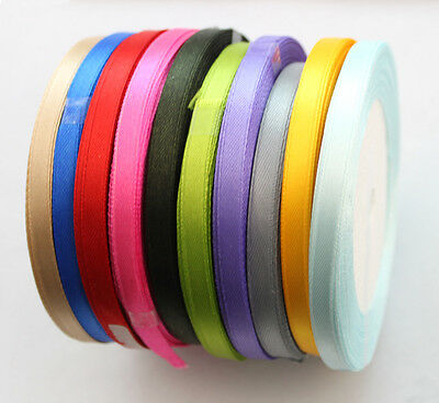 10 Rolls of Mixed Colours 6mm Craft Scrapbooking Satin Ribbon #22763
