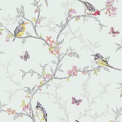 PHOEBE BIRDS 10m WALLPAPER SOFT TEAL by HOLDEN DECOR - 98083 - NEW