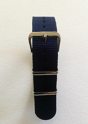 Blue - Nato/G10/Mod Military Style Nylon Watch Strap - 16/18/20/22 And 24Mm