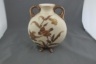Antique Carlsbad, Austria Hand Painted Pillow Vase Double Handle, Footed, Bird