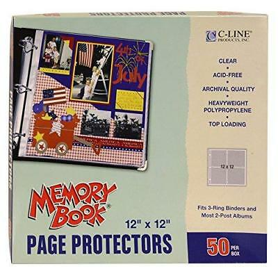 C-Line Memory Book 12 x 12 Inch Scrapbook Page Protectors, Clear Poly, Top New