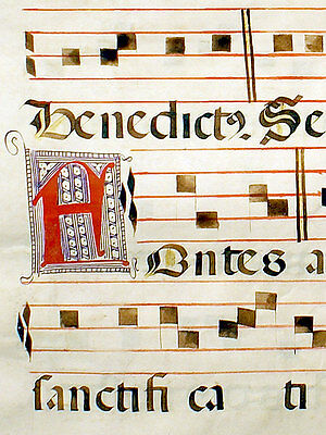 LARGE ILLUMINATED MANUSCRIPT MUSIC LEAF, c.1525 - OFFICE OF THE LORD'S BAPTISM