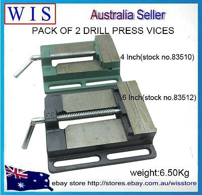 "2 in 1 Flat Drill Press Vise Set, 4"" & 6"" Bench Vise Clamp Die Cast Iron"