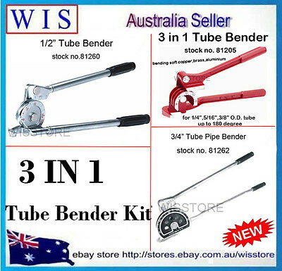"PACK OF 3 1/2"" & 3/4"" & 1/4"",5/16"",3/8"" Tube Bender Kit for Sofe Tube"