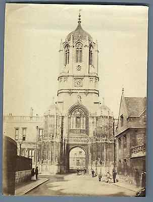 UK, Oxford, Tom Tower Vintage albumen print. Vintage England Tirage albuminé