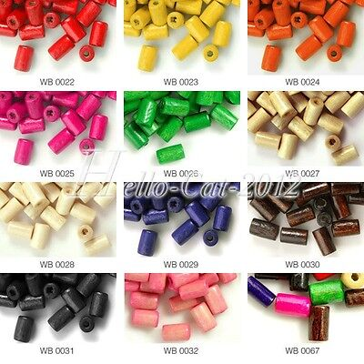 30g Approx 400Pcs Tube Wood DIY Wooden Spacer Beads Dyed Findings HCWB22-67