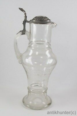 VINTAGE MOUTH-BLOWN WINE JUG WITH PEWTER LID - GERMAN ANTIQUE 1890`s - # 1