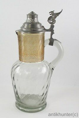 VINTAGE MOUTH-BLOWN WINE JUG WITH PEWTER LID - GERMAN ANTIQUE 1890`s - # 2