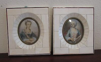Antique Pair of French miniature portrait paintings 19th century signed