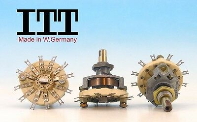 ITT W. Germany 80s CERAMIC Rotary Switch  3 pole 2 positions 3P2T NON SHORTING