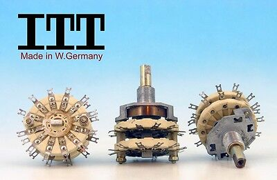 2 POLE 11 POSITIONS 2P11T ROTARY SWITCH ITT W. Germany 80s CERAMIC  NON SHORTING