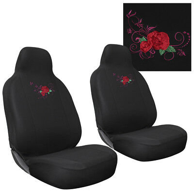 SUV Van Truck Seat Cover Red Rose Flower 2pc Bucket w/Integrated Head Rest