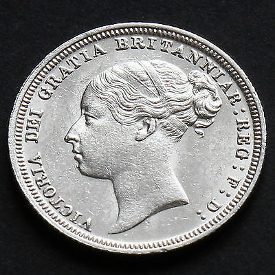 1881 Queen Victoria Young Head Silver Sixpence - Scarce - A/UNC