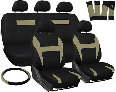 SUV Seat Cover for Toyota Highlander Tan Black w/ Steering Wheel/Belt/Head Rests