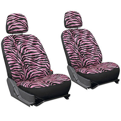 SUV Van Truck Seat Cover Girly Pink Zebra Print 6pc Bucket Detachable Head Rest