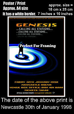 Genesis live concert at Newcastle Arena 30th January 1998 A4 size poster print