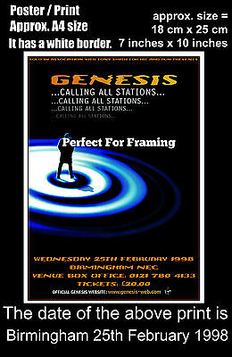 Genesis live concert at Birmingham NEC 25th February 1998 A4 size poster print