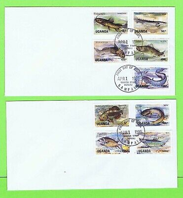 Uganda 1985 Fish, 9 values on two plain First Day Covers