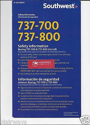Southwest Airlines Boeing 737-700 & 800 Safety Card 9/2014
