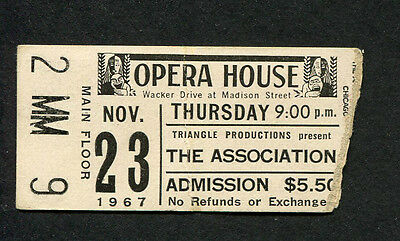 Original 1967 The Association Concert Ticket Stub Chicago Opera House Windy