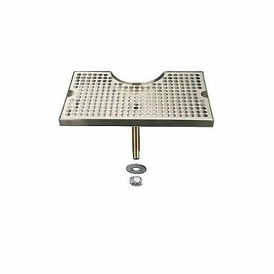 "Beer Drip Tray Stainless Surface Mount 3"" Column Cut-Out w/ Drain New"