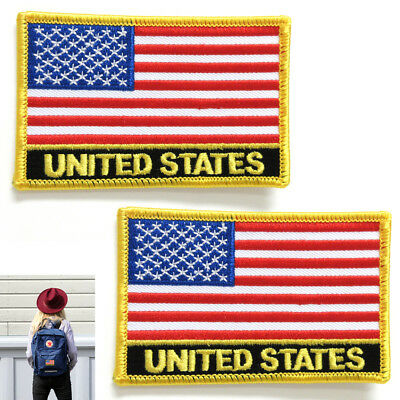 2 American Flag Embroidered Patch Iron On Gold Border Usa Us United Stated New !