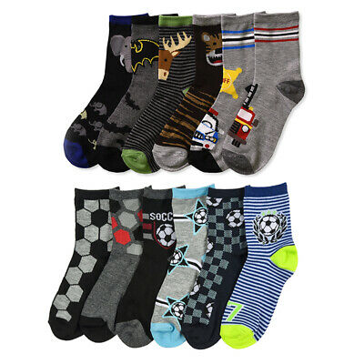 6 Pair Boys Crew Socks Kids Shoe Size 4-6 Years Cartoon Patterned Design School