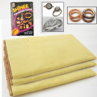 3 Jewelry Polishing Cloths Shine Clean Silver Gold Cleanning Cooper Brass Nickel