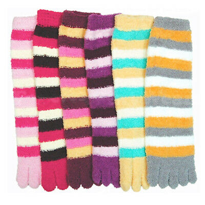 3 Pairs Lot Fuzzy Toe Socks Soft Striped Womens Thong Flip Flop Wholesale 9-11