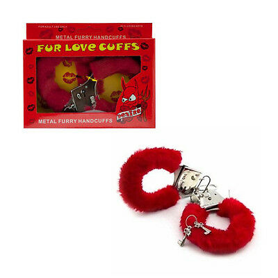 Furry Cuffs Sexy Love Hand Adult Party Handcuffs Fuzzy Red Fur Lined Metal New !