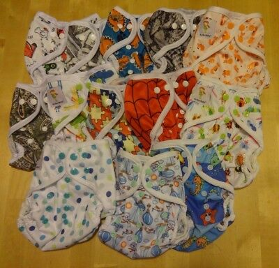 "NEW ""Boy"" PRINTS!  Kawaii One Size Happy Leak-Free Snap Closure Diaper Cover"