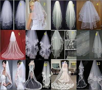 12 Style New white/ivory Tulle Elbow/Cathedral Bridal Accessories Wedding Veil