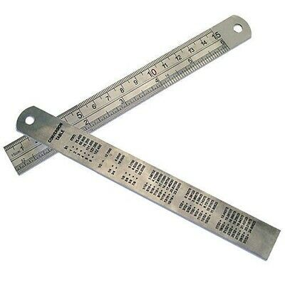 "6"" 150mm STAINLESS STEEL RULER RULE *DUAL MARKINGS* CONVERSION TABLE ON REAR"