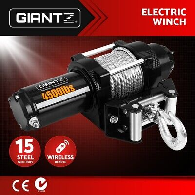Giantz 12V Electric Winch 4500LBS/2041KG Wireless Remote Steel Cable 4WD ATV