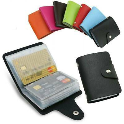 Men Women 24 Cards PU Leather Pocket Business ID Credit Card Holder Case Wallet