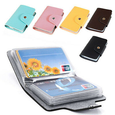 Men's 24 Cards Slim PU Leather ID Credit Card Holder Pocket Case Purse Wallet