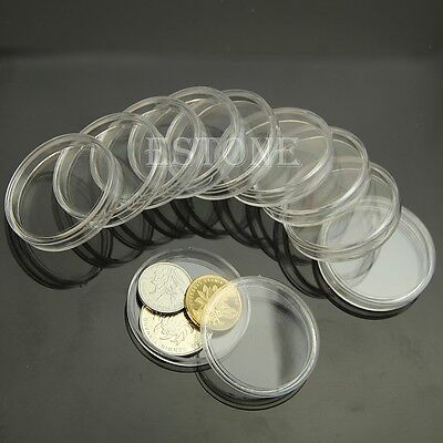 38mm 10pcs Applied Clear Round Cases Coin Storage Capsules Holder Round Plastic