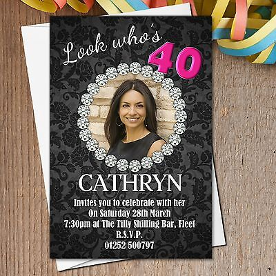 10 Personalised 18th 21st 30th 40th 50th 60th Birthday Party Invitations N186