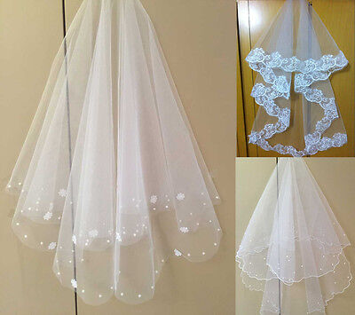 FREE SHIPPING STOCK White/Ivory Tulle 2T Wedding/Bride Bridal Veil Without Comb