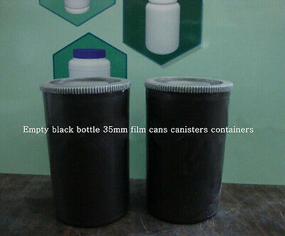 2pc Empty black bottle 35mm film cans canisters containers JH31