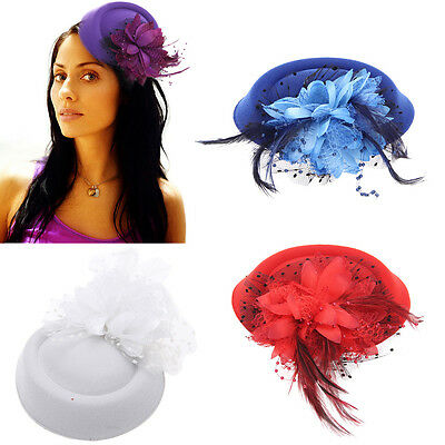 Hair Clip Mini Top Cloth Flower Hat Fascinator Cocktail Party Women