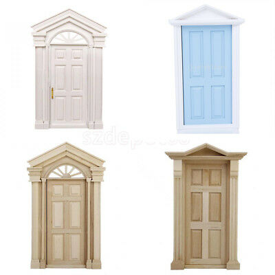 1:12 Scale External Front Wooden Door & Frame Doll House Miniature DIY Accessory