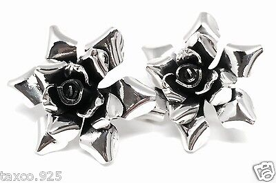 Vintage Design Taxco Mexican Sterling Silver Floral Flower Earrings Mexico