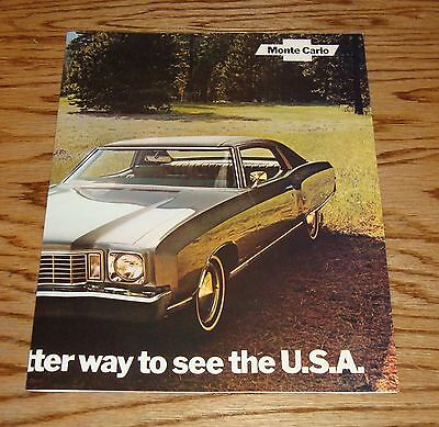 Original 1972 Chevrolet Monte Carlo Facts Features Sales Sheet Brochure 72 Chevy