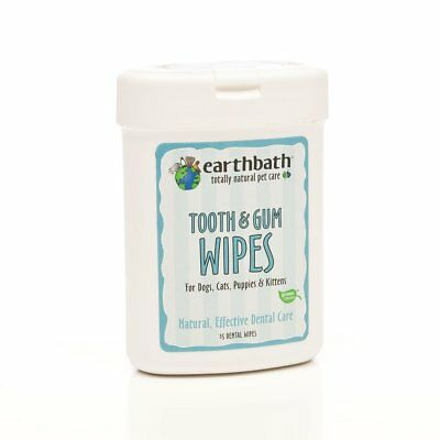 EARTHBATH 25 Count Tooth and Gum Wipes for Dogs  Cats  Puppies and Kittens