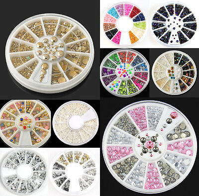 Nail Manicure Wheel Rhinestone Resin Acrylic 3D Nail Art Tips Decoration JT15