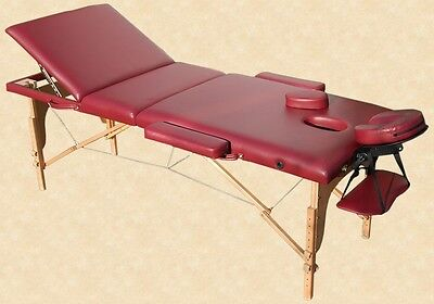 Portable Massage Table Reiki Couch 3-Section Red