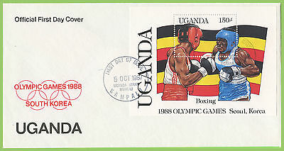 Uganda 1987 Olympics / Flags miniature sheet on First Day Cover