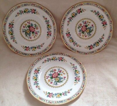 """3 X Foley China Ming Rose Plates 8"""" Excellent Condition First Quality"""
